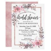 Blush & Rose Gold Framed Bridal Shower Invitations
