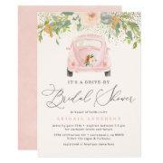 Blush Watercolor Floral Drive By Bridal Shower Invitation