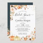 Bohemian Autumn Gold Floral Fall Bridal Shower Invitation