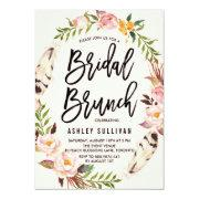 Bohemian Feathers And Floral Wreath Bridal Brunch