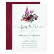 Boho Burgundy And Navy Bridal Shower Wine Tasting Invitation