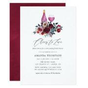 Boho Burgundy And Navy Wine Tasting Bridal Shower Invitations