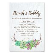 Boho Rustic Mint Floral Succulent Brunch & Bubbly