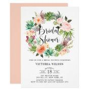 Boho Succulents Floral Wreath Bridal Shower Invitation