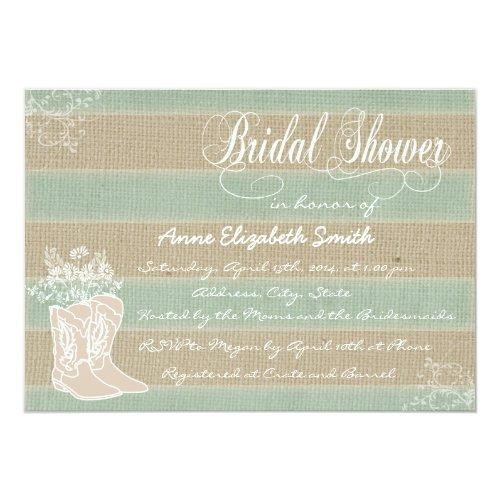 Boots And Flowers Bridal Shower Invitations
