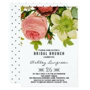 Botanical Flowers Vintage Bridal Brunch Invitations