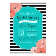 Bridal Or Bridal Shower Invitaion - Bold Stripe Teal