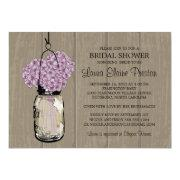 Bridal Shower Barn Wood Mason Jar Hydrangeas Card