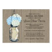 Bridal Shower Barn Wood Mason Jar Hydrangeas Custom Announcements