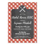 Bridal Shower Bbq Invite Red Gingham Chalk