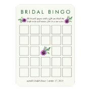 Bridal Shower Bingo Game  | Purple Pansy