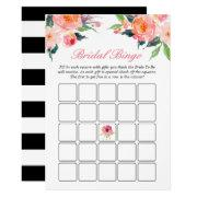 Bridal Shower Bingo Game Modern Watercolor Floral