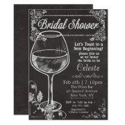 Bridal Shower Chalk Chalkboard Wine Invitations