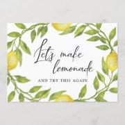Bridal Shower Change Of Plans Lemons Greenery Invitation