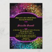 Bridal Shower, Disco Style, Black & Multicolor Invitation