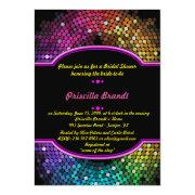 Bridal Shower, Disco Style, Black & Multicolor Invitation