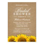 Bridal Shower Elegant Rustic Sunflower Linen Kraft