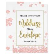 Bridal Shower Envelope Sign | Pink And Gold Invitation