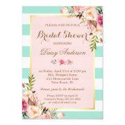 Bridal Shower Floral Bridal Pink Mint Green Stripes Invitations