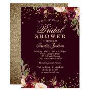 Bridal Shower Gold Burgundy Floral Sparkle