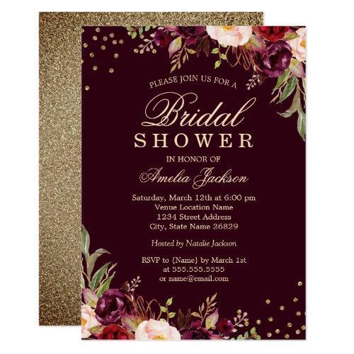 Bridal Shower Gold Burgundy Floral Sparkle Invitation