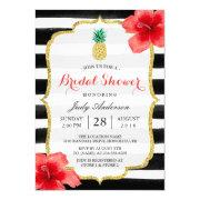 Bridal Shower Gold Glitter Pineapple Red Hibiscus