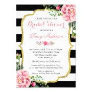 Bridal Shower Gold Pink Floral Black White Stripes