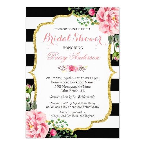 Bridal Shower Gold Pink Floral Black White Stripes Invitations
