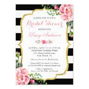 Bridal Shower Gold Pink Floral Black White Stripes Invitation