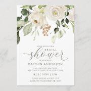 Bridal Shower Greenery Foliage White Watercolor Invitation