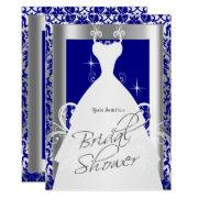 Bridal Shower In Royal Blue Damask And Silver