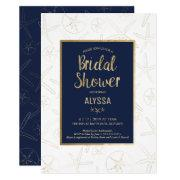 Bridal Shower Invitation, Beachy, Gold Starfish