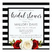 Bridal Shower Invitations Black White Stripes Rose