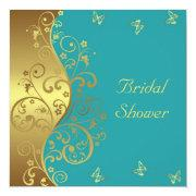 Bridal Shower Invitation--gold Swirls & Teal
