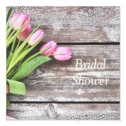 Bridal Shower Invitation--pink Tulips & Wood Invitation