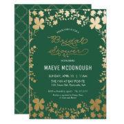 Bridal Shower Invitation, Vintage Green & Gold