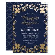 Bridal Shower Invitation, Vintage Navy Gold Flower