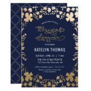 Bridal Shower Invitation, Vintage Navy Gold -small
