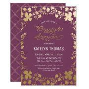 Bridal Shower Invitation, Vintage Purple & Gold