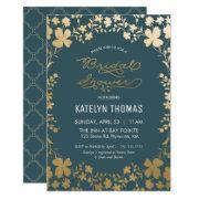 Bridal Shower Invitation, Vintage Teal & Gold