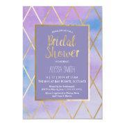 Bridal Shower  - Watercolor, Purple Gold