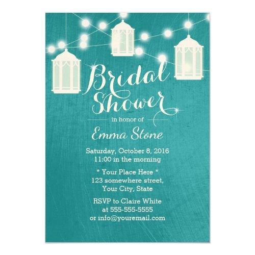 Bridal Shower Lanterns & Strings Modern Teal Invitations