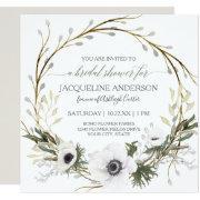 Bridal Shower Modern Anemone Twig Fern Eucalyptus Invitation