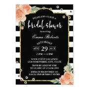 Bridal Shower Modern Stripes Sequin Vintage Floral