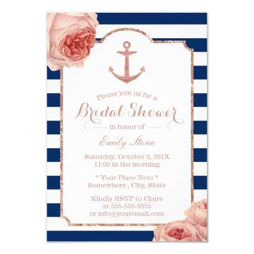 Bridal Shower Nautical Anchor Vintage Floral #2 Invitations