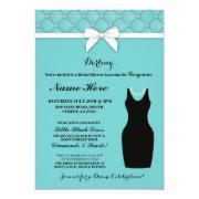 Bridal Shower Party Blue Black Dress Pearls Invite