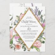Bridal Shower Peony Lavender Gold Floral Elegant Invitation