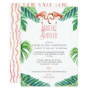 Bridal Shower Pink Flamingo Leaf Stripe Watercolor Invitation