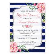 Bridal Shower Pink Floral Silver Blue Stripes
