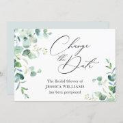 Bridal Shower Postponed Change The Date Eucalyptus Invitation